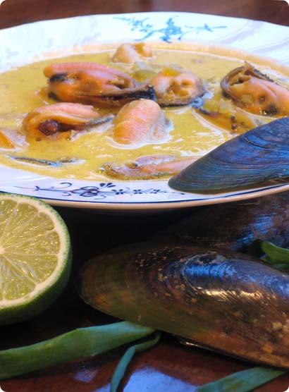 Greenshell Mussels in Saffron & Coconut Bisque