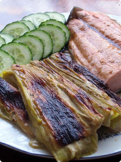 Braised leeks with steamed Norwegian salmon in wasabi soy sauce
