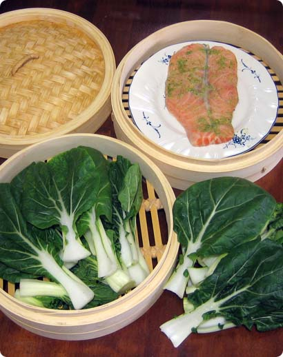 Steamed Norwegian salmon in Thai marinade and bok choy