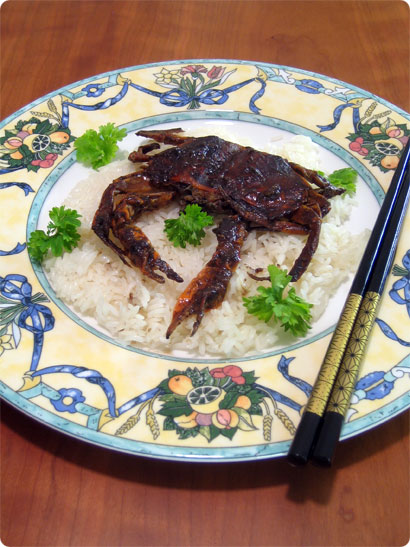 Black Pepper Softshell Crabs on Sticky Rice